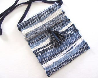 Small Crossbody Wallet Phone Purse, Indigo Blue Cross Body Shoulder Bag Cash Change Pouch, Recycled Upcycled Artisan Woven Fabric Hand Bag
