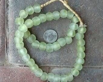 Ghana Glass Beads: Light Green