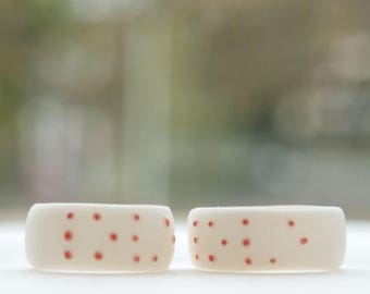 SALE Love Braille white porcelain simple ring band  with coral red dots, personalized jewelry initial ring