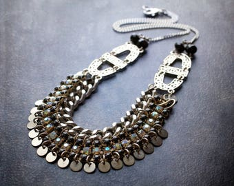 Silver Boho coin Necklace Black Rhinestone Vintage Assemblage Bib Statement Crystal Beads Gypset Festival Flashy Curb Chain Edgy Gypsy
