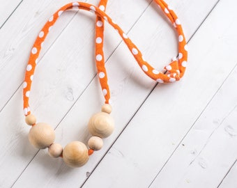 Organic Wood Nursing Necklace - Nursing Necklace - Wooden Teething Necklace - Breastfeeding Necklace - Babywearing Necklace - Compliant