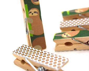 Mini Clothes pins, Sloth Clothes pins, Small Art Projects, Kids, Organize, Polka dots, Jungle, Children,Mini Clips, Wood pins, Decorative