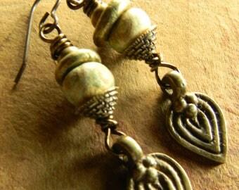 Bronze Leaf Earrings African Brass Artisan Ceramic Green