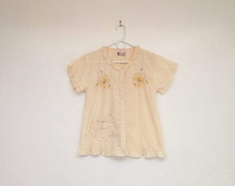 SALE Vintage 1970s Ruffled Floral Embroidered Button Down Top with Heart Pocket