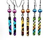Vibrant Earrings, Colorful Dangle Earrings, Fun Jewelry Designs, Leopard, Animal Print, Chevron