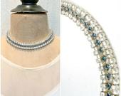 HOLD Vintage CINER Pearl & Sapphire Rhinestone Necklace,Bridal Choker,Ivory/Navy Blue Statement Wedding Jewelry,Art Deco Multi Strand