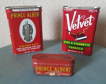 Vintage tobacco cans - 2 Prince Albert & 1 Velvet