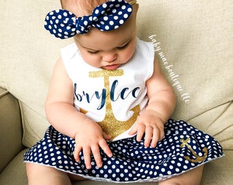 Baby Girl Outfit; Nautical Anchor Outfit; Baby Girl Anchor Outfit; Gerber ® Onesies ® brand; Navy Dot Skirt and Glitter