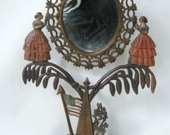 Antique Civil War Era Cast Iron Table Mirror Frame Widow's Memorial Victorian 21""