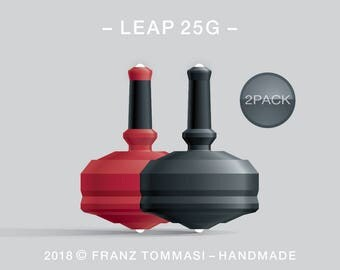 LEAP 25G 2PACK Red-Black – Value-priced set of precision handmade spin tops with dual ceramic tip and integrated rubber grip