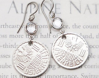 Austria, Vintage Coin Earrings --- Light, as an Eagle's Feather --- International Travel - Old World - Old Money - Travel Gifts - Wunderlust