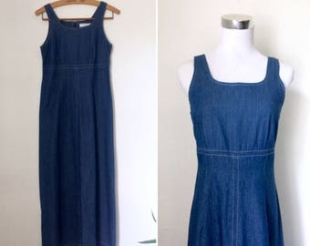 Vintage 1990s blue cotton market dress / minimal nineties long sleeveless A-line maxi dress - small