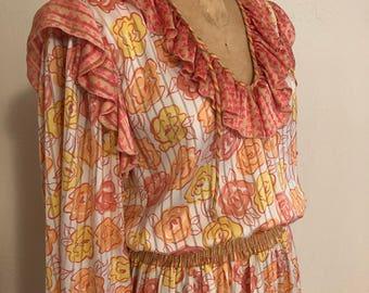 Peachy Golden Floral JUDI MICHAEL for Seasons Vintage Polyester GEORGETTE Dress S
