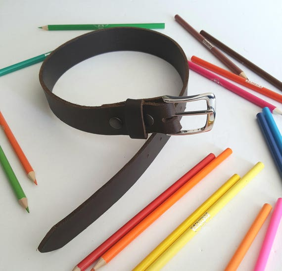 """Kids Belt Dark Brown Children's Leather Belt with Snaps and Belt Keeper  1/2""""wide for Jeans  1-1/4"""" wide for Suits Custom Cut for Kids Sizes"""