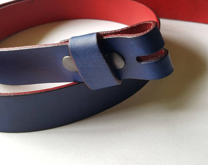 "Hand Dyed Blue and Red Leather Snap Belt 1-1/4"" or 1-1/2"" Interchangeable Leather Belt Custom Cut Belt for Suit, Jean or Chinos Belt w/snaps"