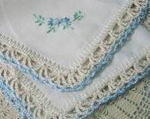 Bridal handkerchief, Wedding Hanky, Something Blue, Bridal Keepsake, Custom Embroidered, Hand Crochet, Bouquet wrap, Ready to ship