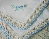 Braut Taschentuch, Hochzeit Hanky, etwas blau Braut Andenken, individuell bestickt, gehäkelten, blumenstraußverpackung, sofort lieferbar