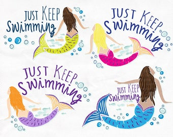 Just Keep Swimming Clip Art, Mermaid ClipArt, Swim Team Motivation, DIY Print your own Temporary Tattoos, Printable Image Transfer