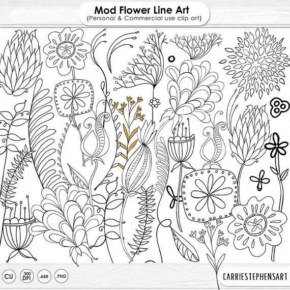 Line Art Etsy : Mod flower digital stamps printable line art