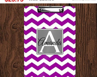 Storewide Sale! Chevron Personalized Monogrammed 2-Sided Dry Erase Clipboard - Great Teacher, Coach, Office Gift!
