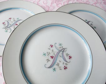Vintage Salad/Dessert Plates Yamaka China Laura Pink Aqua Floral Set of Three