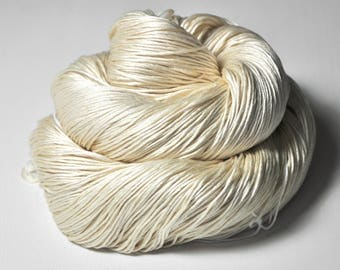 Ghost - natural Silk Fingering Yarn - knotty skein
