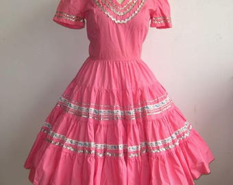 Vintage 50s Pink Cotton Silver Rick Rack Trim Patio Circle Skirt Dance Dress