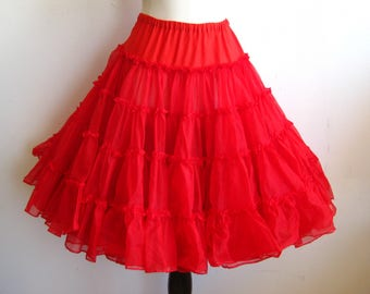 Vintage Can Can Girl Cherry Red Nylon Tulle Full Circle Skirt Crinoline Petticoat