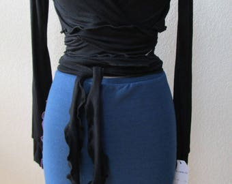 Blue color knee length skirt or tube top with burgundy color stitching plus made in USA (vn25))