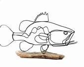 Bass Wire Sculpture, Fish Wire Art, Minimal Design Art, Wire Folk Art, 528869218