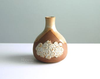 Japanese Modern Brown Stoneware Drip Glaze Vase with Applied Flower Design