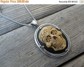 ON SALE Day of the dead cameo necklace handmade in sterling silver