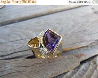 ON SALE Beautiful 14kt gold amethyst and citrine ring with diamonds