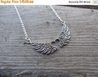 ON SALE Winged heart necklace handmade in sterling silver 925 with marcasites