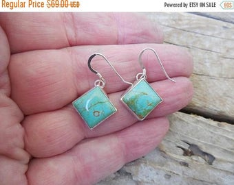 ON SALE Turquoise earrings handmade in sterling silver 925 with Kingman turquoise