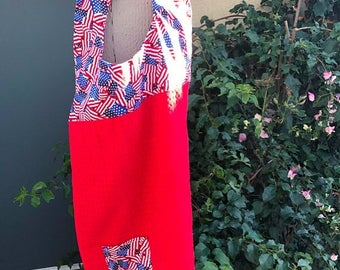 Christmas in July Apron with sewn in dishcloth (red towel)