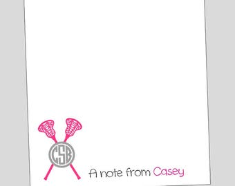 Lacrosse Personalized Notepads - Monogram Lacrosse gift ~ 3 sizes