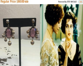 WW2 ENDS SALE On The Wings of a Dove - Vintage 1900s Edwardian Plum Amethyst Glass Brass Bauble Screw Back Earrings