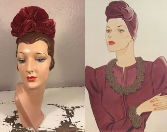 Who Says Metals Can't Be Rosy - Vintage 1930s Rosy Rust Silk Velvet Twisted Turban Hat