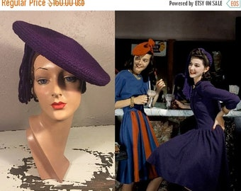 Anniversary Sale 35% Off Meet Me at the Soda Shop - Vintage WW2 1940s Royal Purple Wool Yarn Side Beret Hat w/Tassel