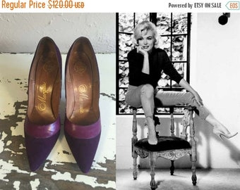 Anniversary Sale 35% Off Kicking Off Her Dance Shoes - Vintage 1950s Purple Nubuck & Leather Stilettos High Heels Shoes Pumps -