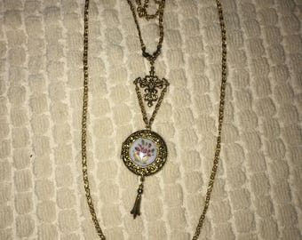 Double Chain Painted Locket Victorian Style Necklace