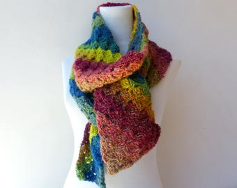 Colorful Winter Scarf Hand Knit scarf Womens Scarf
