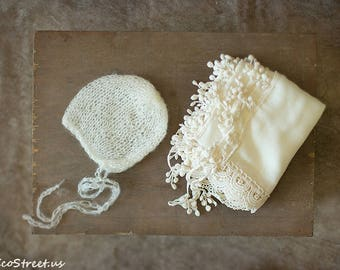 Baby Wrap and Hat Set, Baby Mohair Hat Baby, Ivory Cream Wrap, Mohair Bonnet, Newborn Props, Baby Props, Lace Wrap, RTS