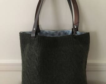 Loden Green Felted Cable Tote Bag