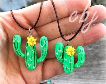 Cactus Necklace, Cactus Charm, Cactus Pendant, Cactus Jewelry, Polymer Clay Cactus, Handmade, Desert Jewelry