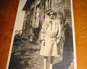 Vintage Portrait Photograph Old Country Child Photograph Young Girl Photo Dated 1927 Antique Genre Portrait Photograph Photo Of Velma