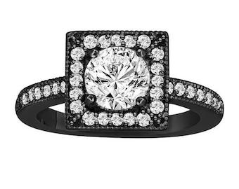 10% ON SALE Diamond Engagement Ring 1.34 Carat Vintage Style 14K Black Gold Halo Handmade Certified