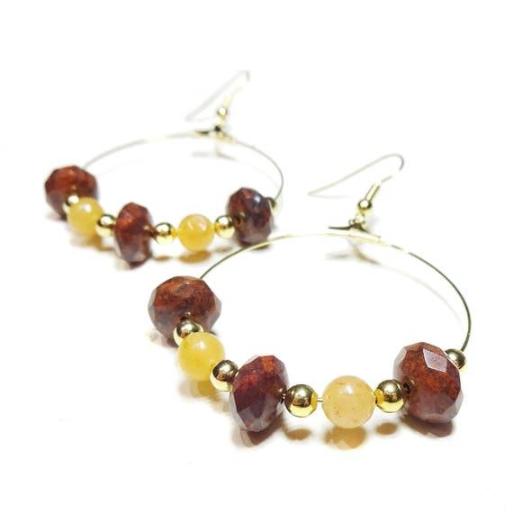 Gold Plated Gemstone Hoop Earrings w/ Faceted Jasper & Red Aventurine