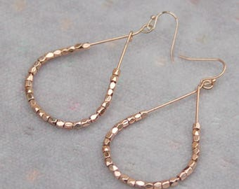 Beaded Rose Copper Loop Earrings